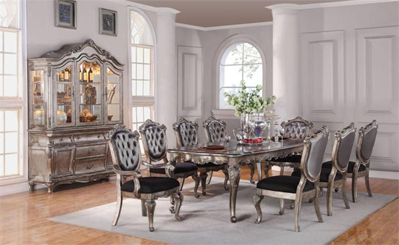 112 Avignon Antique Platinum Formal Dining Table Set | Table for 10