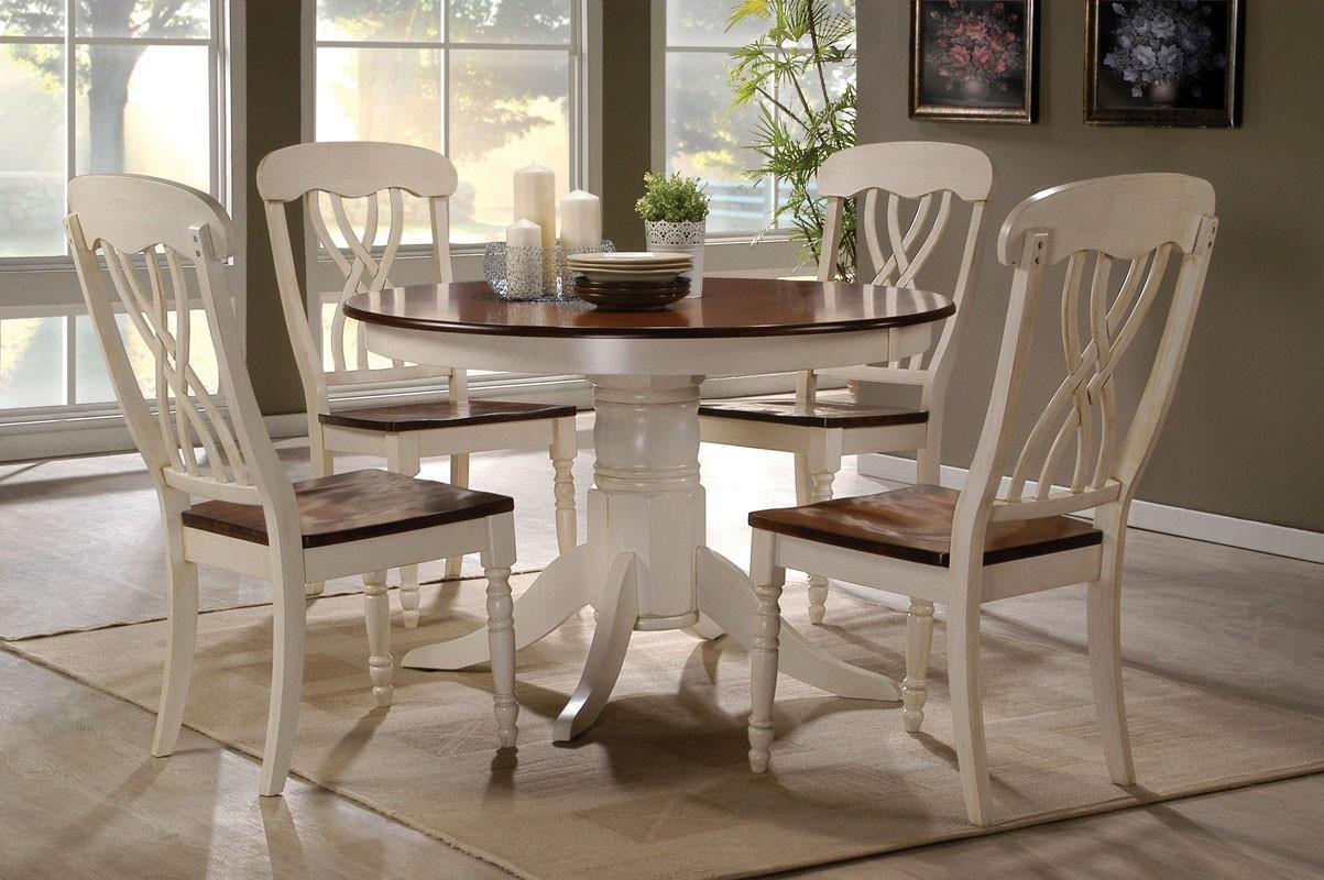 42  Lander 5 Piece Oak Buttermilk Kitchen Table Set | Small Kitchen Tables & 42 Lander Oak Buttermilk Round Kitchen Table Set | Table for 4