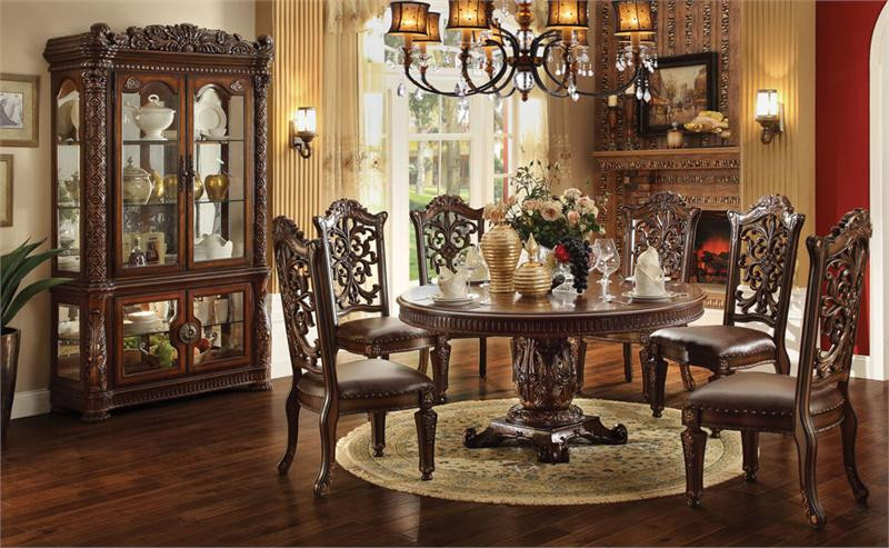 60 Lancaster Cherry Round Pedestal Dining Table Set