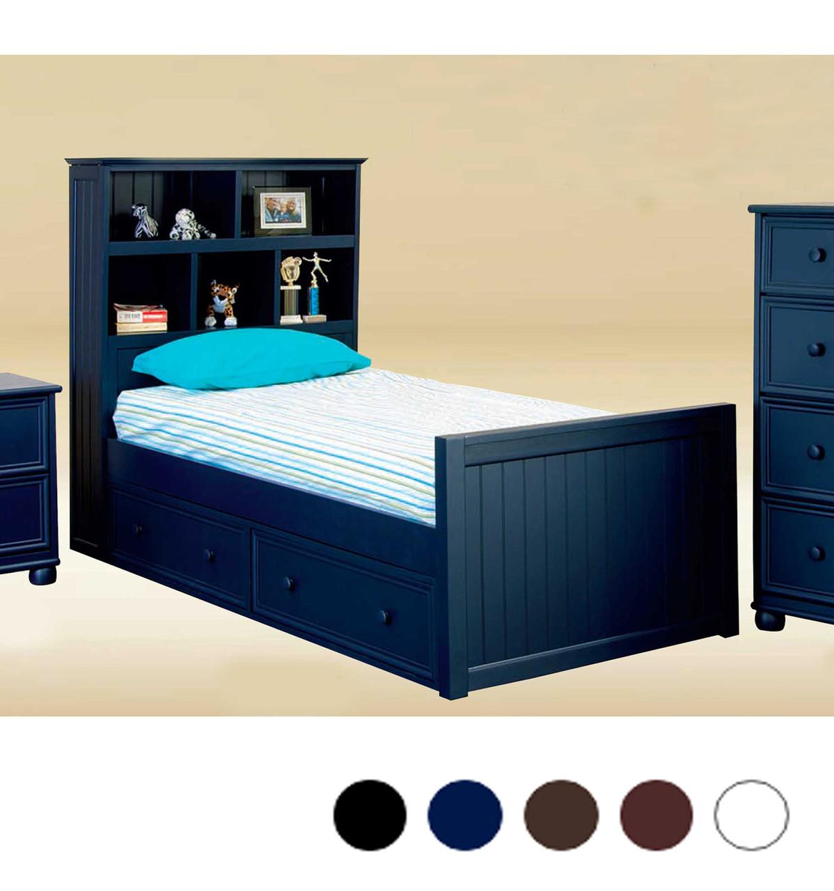 Beckett Navy Blue Twin Captain Bed Walnut White Blue