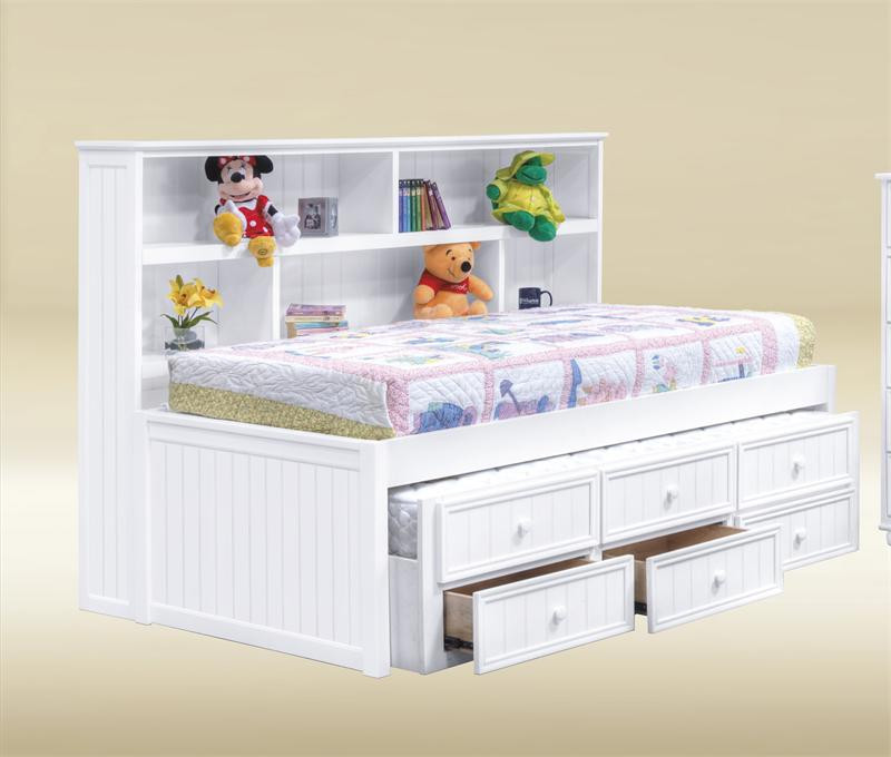 Bianca White Twin Size Bookcase Bed | Trundle Bed