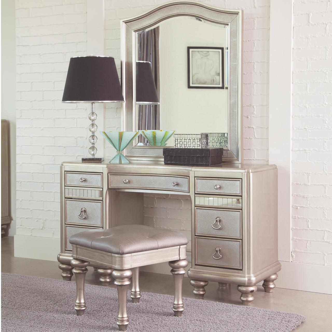 Lex Metallic Platinum Dressing Makeup Table with Drawers Mirror