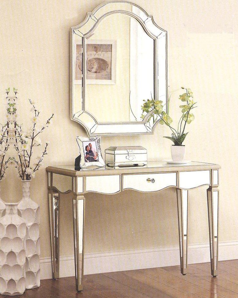 Antique Silver Mirrored Vanity Console Desk - Zola Antique Silver Mirrored Vanity Console Desk