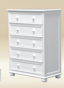 White Bead Board 5-Drawer Chest of Drawers