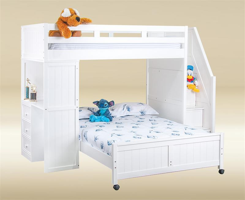 Lake View White Twin Full Loft Bed With Stairs Full Loft Bed