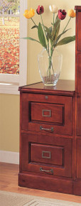 2-Drawers Wood File Cabinet in Cherry Finish