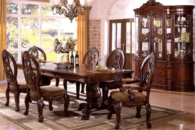 Superbe Tuscany Antique Cherry Traditional Pedestal Dining Table Set ...