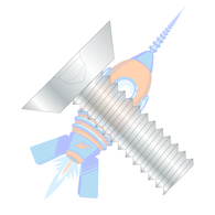 10-24 x 1/4 Square Drive Flat Head Undercut Machine Screw Fully Threaded Zinc