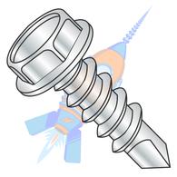 1/4-14 x 1-1/2 .428-.437A/F .172-.190Hd Hgt Unslot Ind Hexwash Self Drilling Full Th Zinc