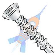 1/4-14 x 1 Square Drive Flat Trim Head Self Drilling Screw Full Thread Zinc