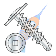 1/4-14 x 2-1/2 Square Drive Modified Truss Head Self Drilling Screw Full Thread Zinc