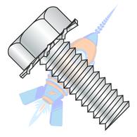 1/4-20 x 1-1/2 Unslot Indent Hex Head 7/16 AF External Sems Machine Screw Full Thread Zinc And