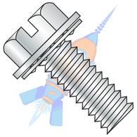 1/4-20 x 1/2 Slotted Indent Hexwasher Internal Sems Machine Screw Full Thread Zinc