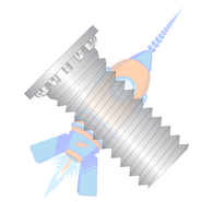1/4-20 x 1 Self Clinching Stud 12 Rib Full Thread 300 Series Stainless Steel