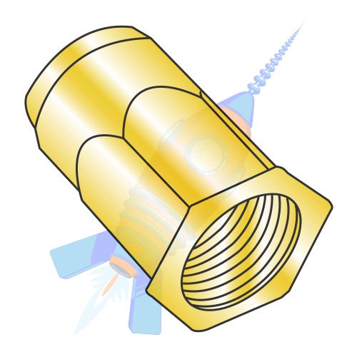M4 x 0 7 x 3 00 Metric Thin Head Hex Body Rivet Nut Steel Zinc Yellow  Dichromate