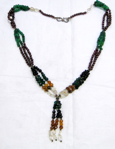 925 Silver garnet & Multi gemstones beads necklace jewelry 11609