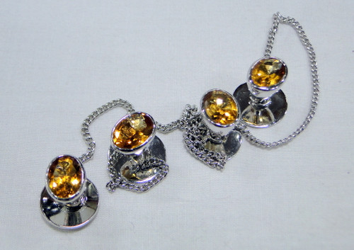 Kurta buttons 925 sterling silver & Citrine gemstones buttons set-11802