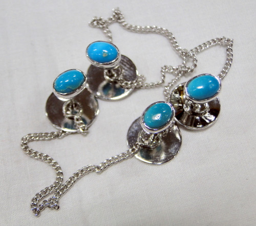 Kurta buttons 925 sterling silver & Turquoise gemstones buttons set-11803