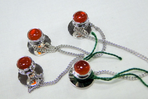 Kurta buttons 925 sterling silver & Carnelian gemstones buttons set-11804