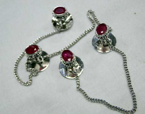 Kurta buttons 925 sterling silver & Ruby gemstones buttons set-11805