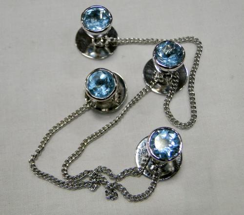 Kurta buttons 925 sterling silver & Blue Topaz gemstones buttons set-11807