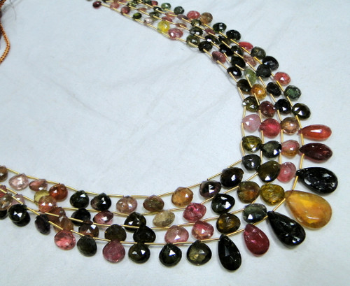Natural MULTI TOURMALINE faceted tear drop shape strands Necklace