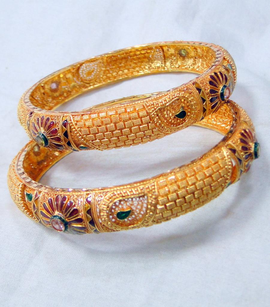 Gold Bangles 22k Solid Gold Cuff Bracelet Fine Handmade Jewelry
