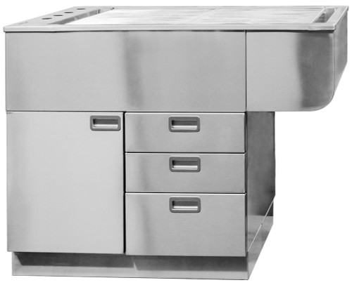 """This is a 46""""L Stainless Steel Tub Table with Right Hand Knee Space."""