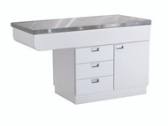 White Exam Table, Stainless Steel Top with Left Hand Knee Space
