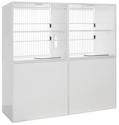 """Feline Comfort Suite, 60""""W Assembly, Top Glass Back, Full Grill Door, Back View"""