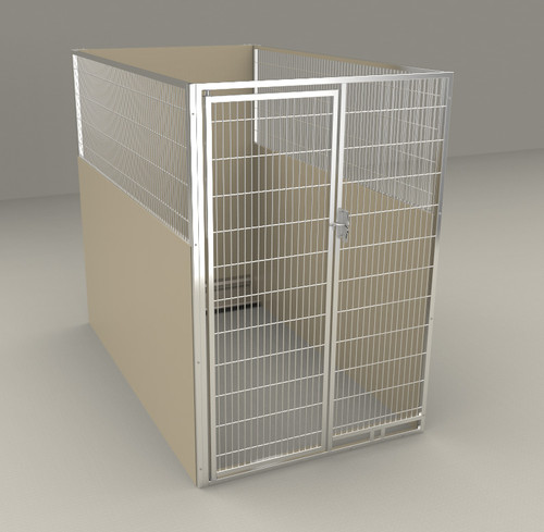 "Single Kennel, with Back Panel, Stainless Steel Panel/Door, 48""W x 84""L x 72""H, No Slope, beige"
