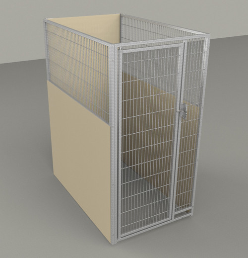 """Single Kennel, with Back Panel, Stainless Steel Panel/Door, 36""""W x 60""""L x 72""""H, Beige"""