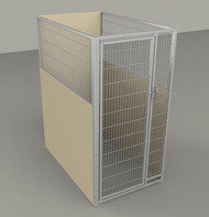 "Single Kennel, with Back Panel, Stainless Steel Panel/Door, 36""W x 60""L x 72""H, Beige"