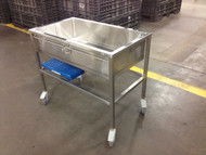 This Shor-Line mobile bathing tub comes with the PVC-coated floor shown.