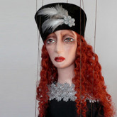 Handmade Marionette - Lady in Black (Red Curly Hair)