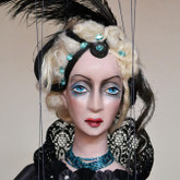 Handmade Marionette - Lady in Black (Short Blond Hair)