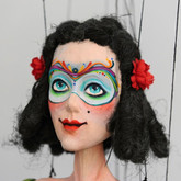 Handmade Wooden Marionette - Colorful Columbina
