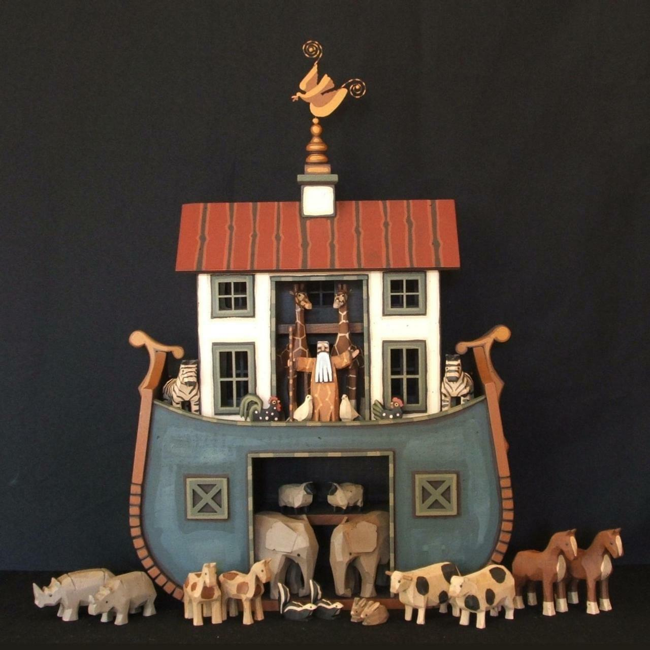 Wooden Noahs Ark Round Bottom Shaker Barn Ark Endeavour Toys