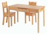 Little Colorado Arts and Crafts Table and Set of Two Open Back Chairs in Natural Finish
