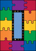 Learning Carpets ABC Rainbow Puzzle Cut Pile Rug - Rectangular