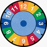 Learning Carpets Rainbow Clock Cut Pile Rug - Round
