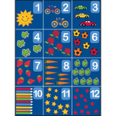 Learning Carpets Counting Rug 1-12 Cut Pile Rug - Rectangular