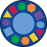 Learning Carpets Geometric Shapes Cut Pile Rug - Round