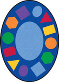 Learning Carpets Geometric Shapes Cut Pile Rug - Oval