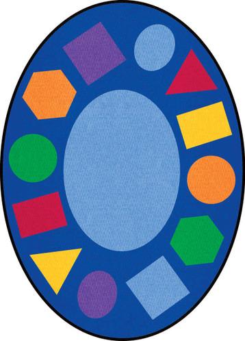 Learning Carpets Geometric Shapes Cut Pile Rug - Oval