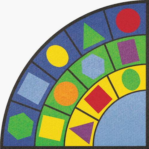 Learning Carpets Geometric Shapes Cut Pile Rug - Wedge