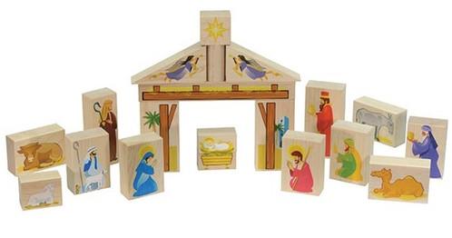 Maple Landmark Wooden Nativity Block Set (73362).