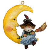 Wee Forest Folk Miniatures - Broom to the Moon Ornament (M-623a)