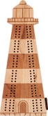 Wooden Lighthouse Cribbage Board by Maple Landmark