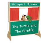 Deluxe Puppet Theater with Chalkboard - Red Curtains (WD21650)